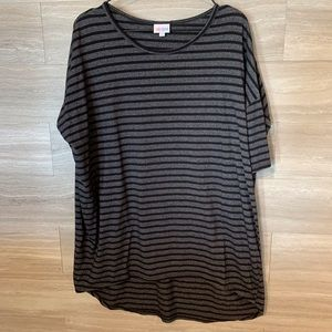 LuLaRoe Gray Black Striped Irma Shirt Size L